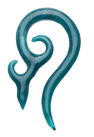 Devil's Horn Acrylic Ear Gauge Spiral Hanging Taper - 10 GA (2.4mm) - Teal - Sold as a Pair
