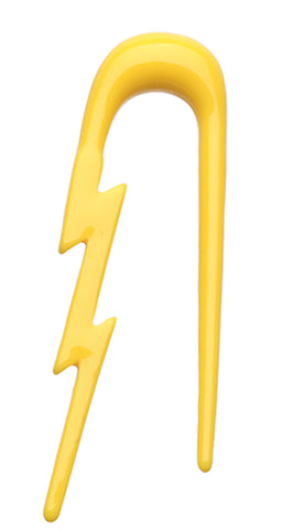 Lightning Bolt Acrylic Ear Gauge Buffalo Taper - 2 GA (6.5mm) - Yellow - Sold as a Pair