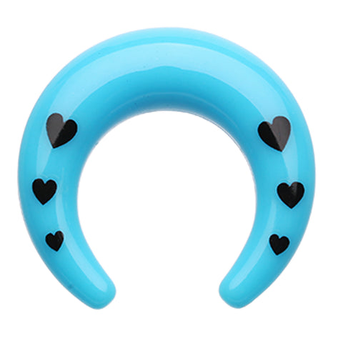 Love Struck Multi Hearts Acrylic Ear Gauge Buffalo Taper - 0 GA (8mm) - Blue - Sold as a Pair