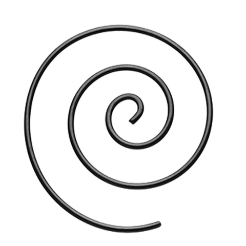 Colorline 316L Surgical Steel Spiral Coiled Earring - 14 GA (1.6mm) - Black - Sold as a Pair