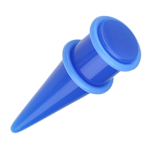 Solid Neon Shorty UV Acrylic Ear Stretching Taper - 4 GA (5mm) - Blue - Sold as a Pair