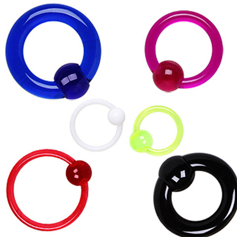 "UV Coated Acrylic Captive Bead Ring with Dimple Ball - 2GA White L:5/8"" B:8mm - Sold as a Pair"