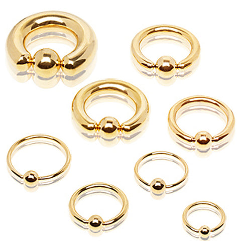 "Gold Plated 316L Surgical Steel Captive Bead Ring - 18GA L:1/2"" B:4mm - Sold as a Pair"