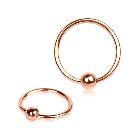 "Rose-Gold Plated Captive Bead Ring - 16GA L:5/16"" B:3mm - Sold as a Pair"