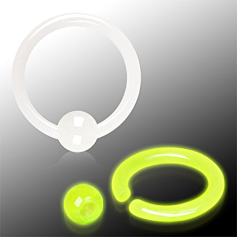 "Glow in the Dark Captive Bead Ring - 14GA White L:1/2"" - Sold as a Pair"