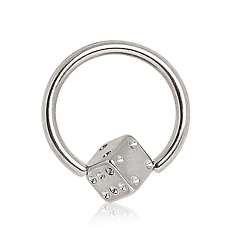 "316L Surgical Steel Captive Bead Ring with Dice - 16GA L:3/8"" B:4mm - Sold as a Pair"