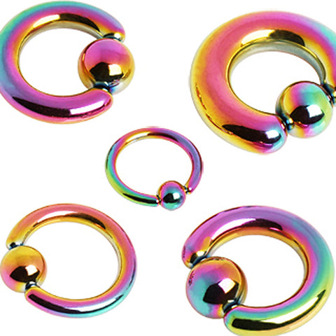 "PVD Plated 316L Surgical Steel Captive Bead Ring with Dimple Ball - 10GA Rainbow L:1/2"" B:6mm - Sold as a Pair"