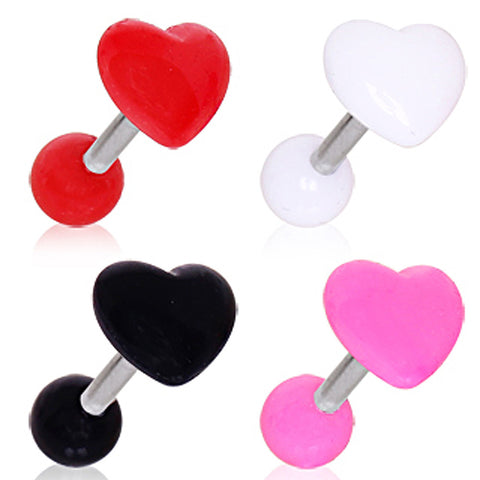 "316L Surgical Steel Cartilage Earring with Acrylic Heart - 16GA Red L:1/4"" B:4mm - Sold as a Pair"
