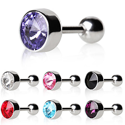 "316L Surgical Steel Bezel Set Faceted Swarovski Crystal Cartilage Earring - 16GA Purple L:1/4"" B:6mm - Sold as a Pair"