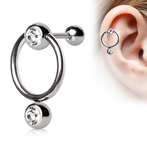 316L Surgical Steel Cartilage Ring with Double Glass/Gem Balls Captive Bead Ring