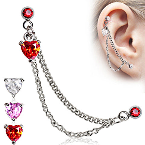 "Heart 316L Surgical Steel Double Chained Cartilage Earring - 16GA Red L:1/4"" B:4mm - Sold as a Pair"
