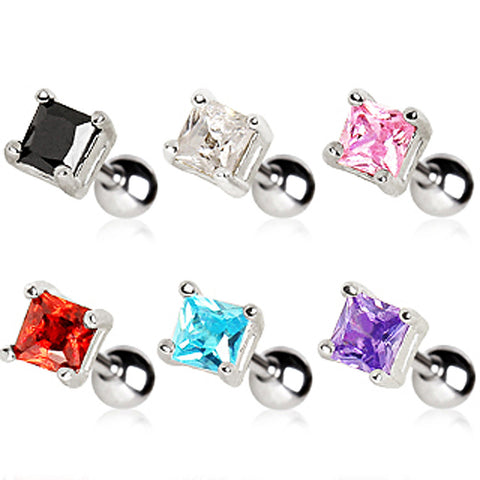 "316L Surgical Steel Prong Set 4mm Square CZ Cartilage Earring - 16GA Pink L:1/4"" B:4mm - Sold as a Pair"