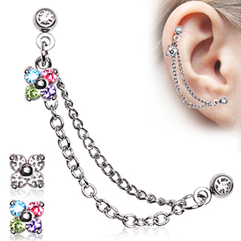 "316L Surgical Steel Flower CZ Double Chained Cartilage Earring - 16GA Clear L:1/4"" B:4mm - Sold as a Pair"