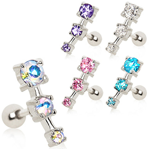 "316L Surgical Steel Triple CZ Droplet Cartilage Earring - 16GA Aurora Borealis L:1/4"" B:4mm - Sold as a Pair"
