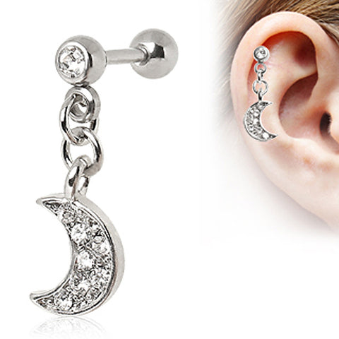 316L Surgical Steel Crescent Moon Dangle Cartilage Earring