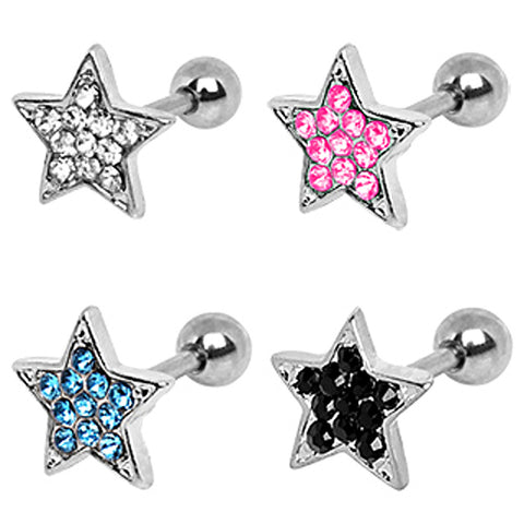 40pcs 316L Multi-CZ Star Cartilage Earrings in Assorted Colors