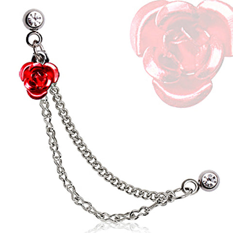 316L Surgical Steel Double Chained Cartilage Earring with Red Metal Rose