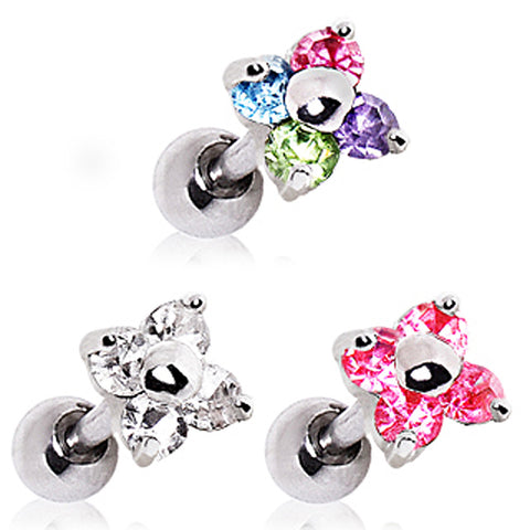 "316L Flower CZ Cartilage Earring - 16GA Clear L:1/4"" B:5mm - Sold as a Pair"