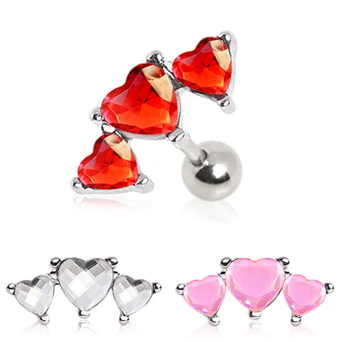 "316L Surgical Steel Triple Heart Cartilage Earring - 16GA Pink L:1/4"" - Sold as a Pair"