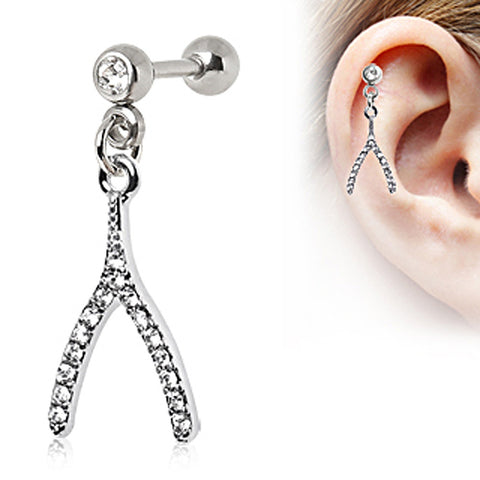 316L Surgical Steel Multi CZ Wishbone Dangle Cartilage Earring