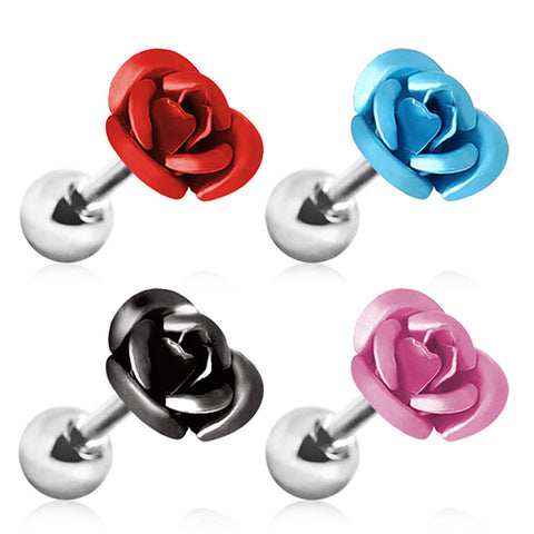 "Metallic Rose Cartilage Earring - 16GA Black L:1/4"" - Sold as a Pair"