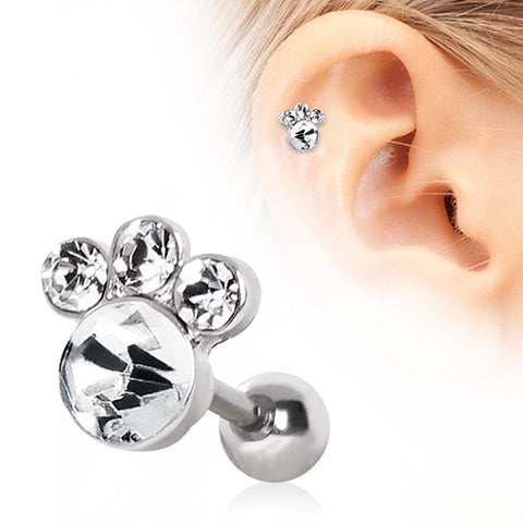 316L Surgical Steel Glass/Gemmed Animal Paw Cartilage Earring