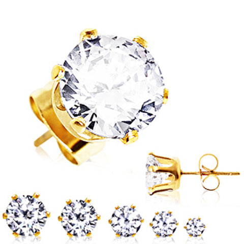 Pair of Gold Plated Clear Round CZ Stud Earrings - 20GA Clear B:6mm - Sold as a Pair
