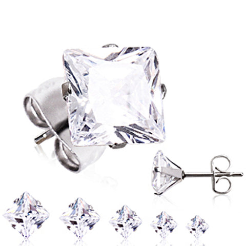 Pair of 316L Surgical Steel Clear Princess Cut CZ Stud Earrings - 20GA Clear B:7mm - Sold as a Pair