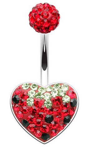 Strawberry Heart Sparkling Belly Ring