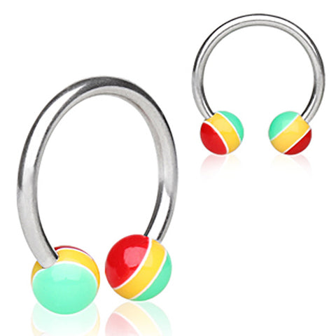 "316L Surgical Steel Horse Shoe with UV Coated Acrylic Jamaican Striped Balls - 16GA Rasta L:3/8"" B:4mm - Sold as a Pair"