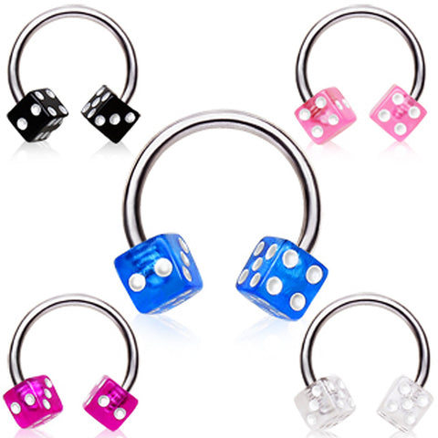 "316L Surgical Steel Horse Shoes with UV Dice Balls - 16GA Black L:3/8"" - Sold as a Pair"