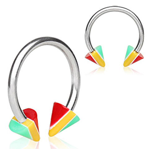 "316L Surgical Steel Horse Shoe with UV Coated Acrylic Jamaican Striped Spikes - 14GA Rasta L:1/2"" B:5mm - Sold as a Pair"