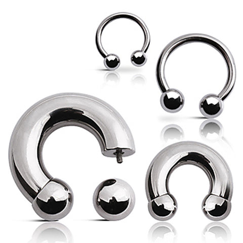 "316L Surgical Steel Horse Shoes with Ball - 8GA L:1/2"" B:6mm - Sold as a Pair"