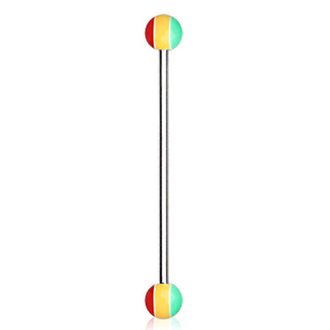 316L Industrial Barbell with UV Acrylic Rasta Balls