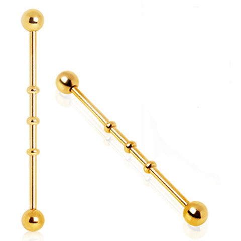 Gold Plated Industrial Barbell with Three Notches