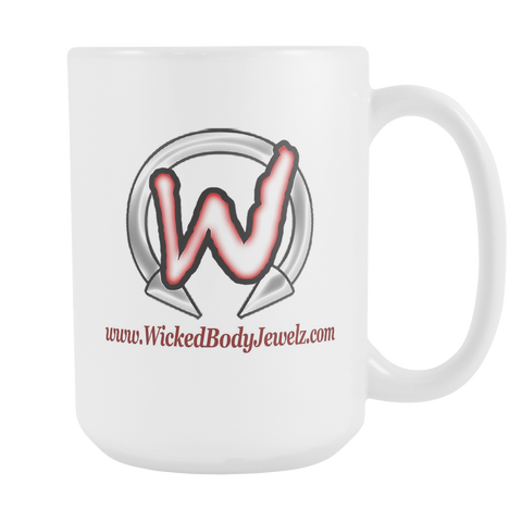 Large White Coffee Mug with Wicked Body Jewelz Logo