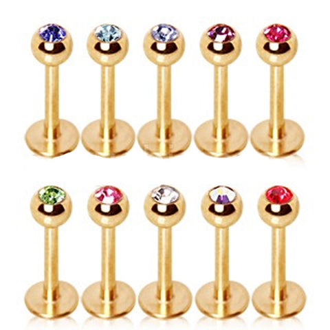 "Gold Plated Over 316L Surgical Steel Labret with Glass/Gemmed Ball - 16GA Red L:5/16"" B:3mm - Sold as a Pair"