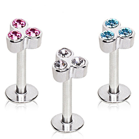316L Surgical Steel Internally Threaded Triple Glass/Gem Labret
