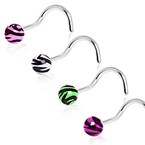 316L Surgical Steel Screw Nose Ring with UV Zebra Print Ball - 20GA Green B:3mm - Sold as a Pair
