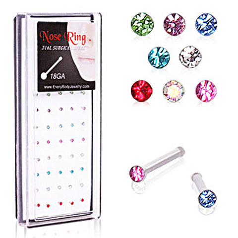 40pcs 316L Surgical Steel Press Fit Mixed-Color CZ Nose Bone Package in Acrylic Display - 20GA - Sold as a Pair