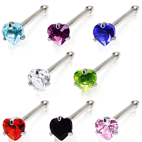 316L Surgical Steel Prong Set Heart CZ Nose Bone - 18GA Clear B:3mm - Sold as a Pair