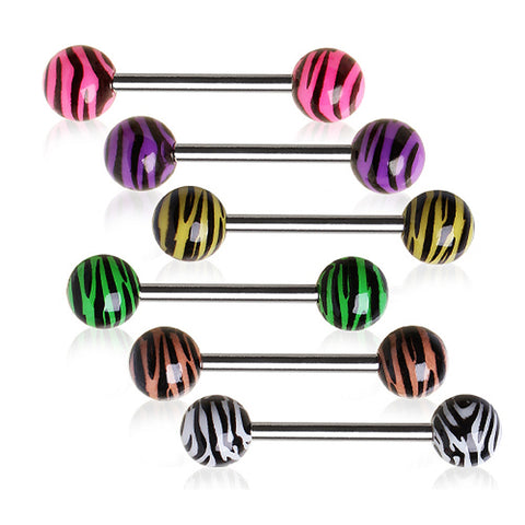 "316L Surgical Steel Nipple Bar with UV Coated Zebra Print Balls - 14GA Purple L:5/8"" B:6mm - Sold as a Pair"