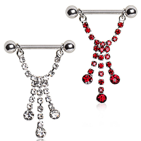 "316L Surgical Steel Nipple Ring with Three Cascading Glass/Gems - 14GA Red L:3/4"" - Sold as a Pair"