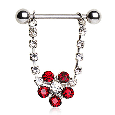 316L Surgical Steel Nipple Ring with Flower
