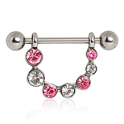 316L Surgical Steel Nipple Ring with Multi Color Glass/Gems