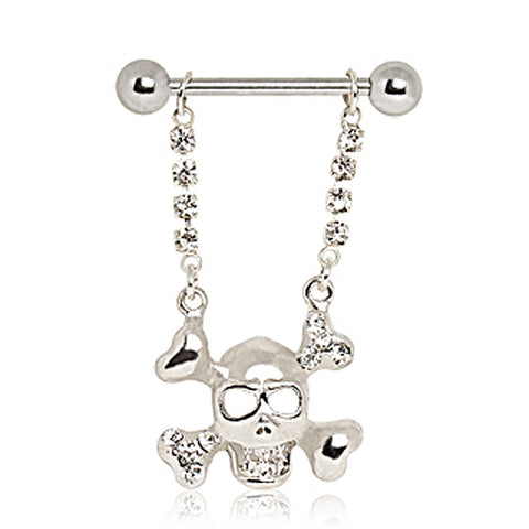 316L Surgical Steel Skull and Crossbones Nipple Ring