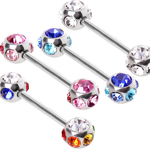 "316L Surgical Steel Nipple Bar with Multi-Glass/Gemmed Balls - 14GA Pink L:9/16"" B:6mm - Sold as a Pair"