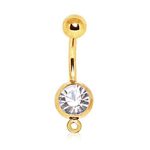 Gold Plated Press Fit CZ Navel Ring with a Ring to Attach Dangle