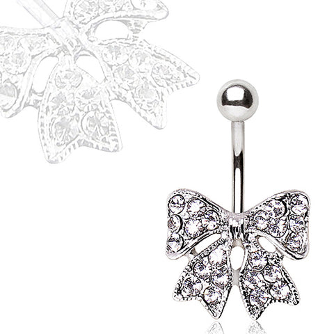 316L Navel Ring with CZ Ribbon Bow