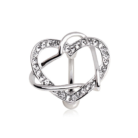 316L Surgical Steel Intertwined Hearts Top Down Navel Ring